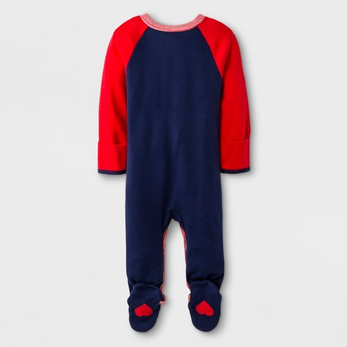 5199d1815 Baby Long Sleeve Footed Sleeper - Cat   Jack™ Blue Red 6-9M   Target