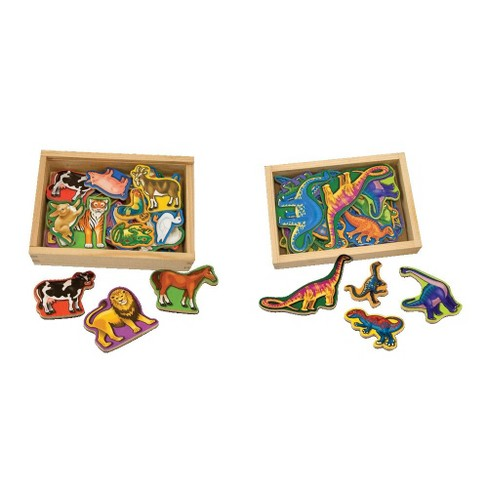 Melissa & Doug® Wooden Magnets Set - Animals and Dinosaurs With 40 Wooden Magnets - image 1 of 2