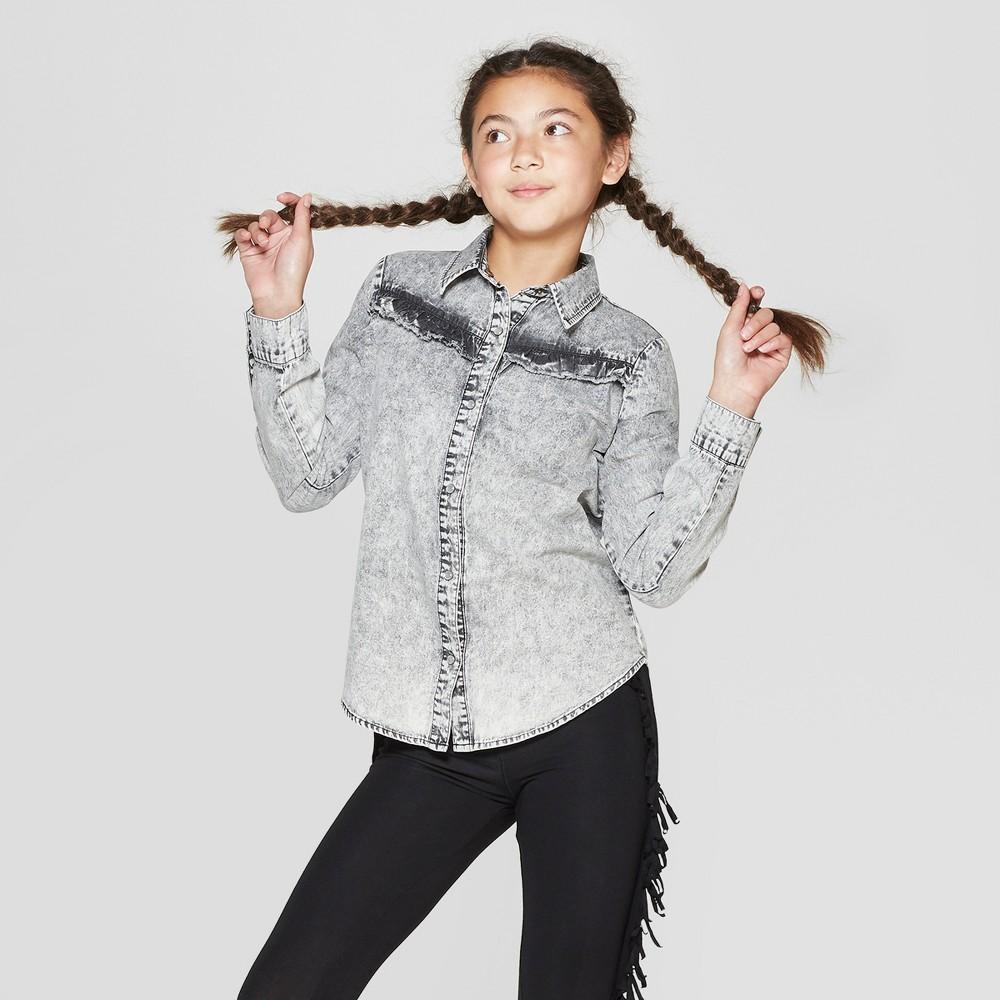 Girls' Long Sleeve Button-Down Denim Shirt - art class Black/Gray XL, Black Gray