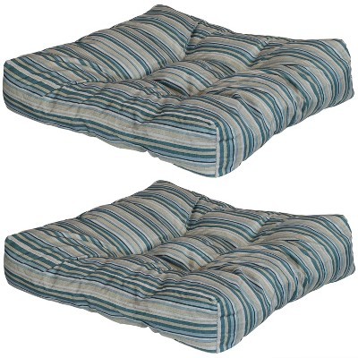 Neutral Stripes 2pk Tufted Indoor/Outdoor Seat and Back Cushions - Tan, Blue and Gray - Sunnydaze Decor