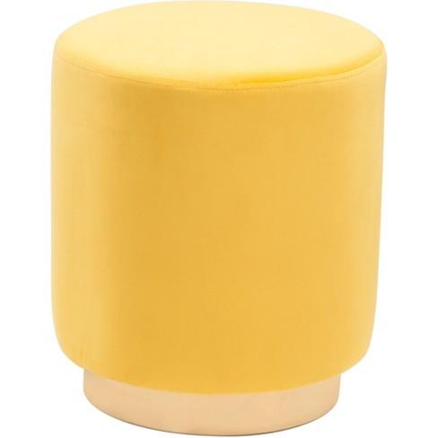 Luxe Velvet Round Ottoman Yellow Zm
