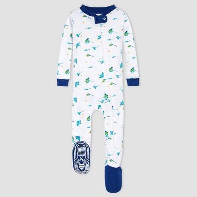 Burt's Bees Baby Boys' Stingray Footed Pajamas - Dark Blue