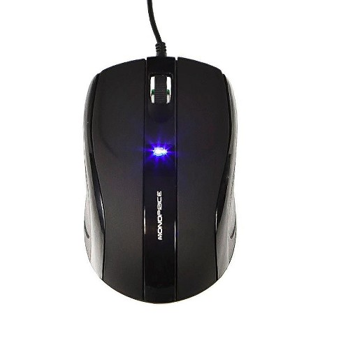 Monoprice Soft Touch 3-Button Optical Mouse - Black, Rubber Coated & Silky  Smooth Surface, Chrome'd Cylindrical Scroll Wheel