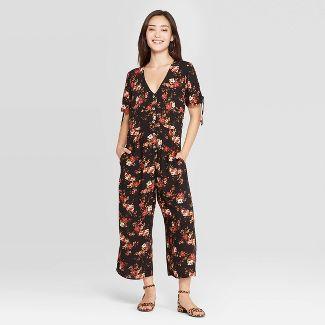 Women's Floral Print Short Sleeve V-Neck Button Front Cropped Jumpsuit - Xhilaration™ Black L