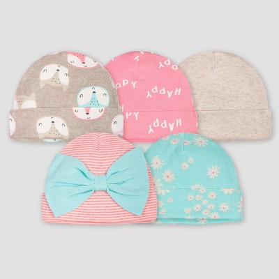 Gerber Baby Girls' 5pk Fox Caps - Coral/Green/Light Brown 0-6M