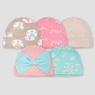 Gerber Baby Girls' 5pk Fox Caps - Coral/Green/Light Brown 0-6M