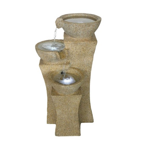 "14"" x 13.3"" x 25.2"" Cascade Bowls Outdoor Fountain With LED Lights - Sand - Pure Garden - image 1 of 2"