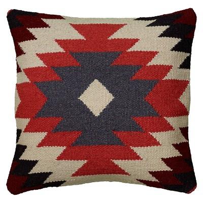 """18""""x18"""" Southwestern Striped Square Throw Pillow Orange/Black - Rizzy Home"""