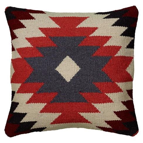 "18""x18"" Southwestern Striped Square Throw Pillow Orange/Black - Rizzy Home - image 1 of 2"