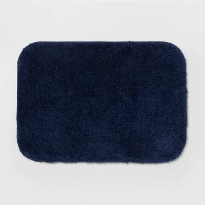 "17""x24"" Solid Bath Rug Navy Blue - Room Essentials™"