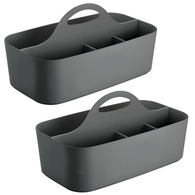 mDesign Plastic Bathroom Storage Organizer Caddy Tote, Large, 2 Pack