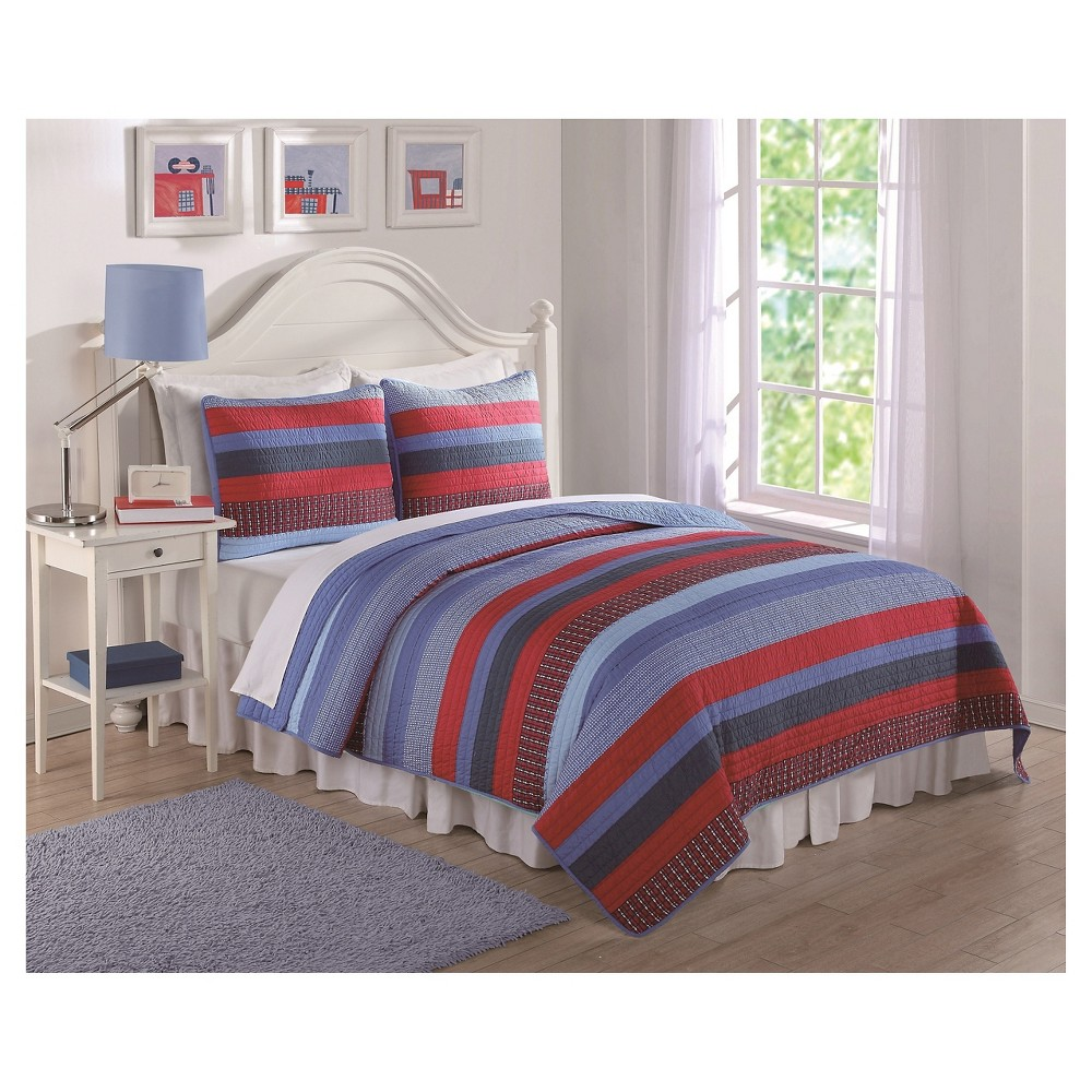 Stripe Quilt Set 2 pc (Twin) Blue & Red - Laura Hart, Red Blue
