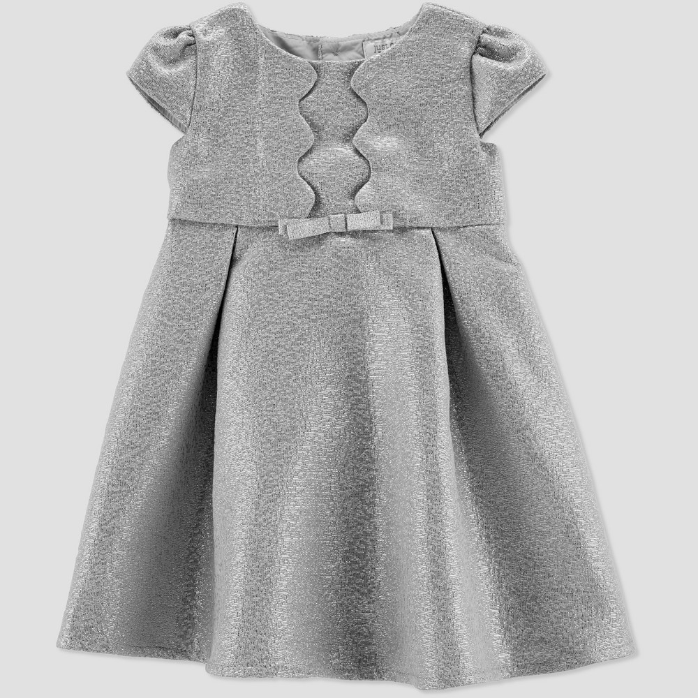 Toddler Girls' Glitter Holiday Dressy Dress - Just One You made by carter's Silver 3T, Gray