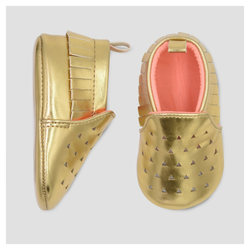Baby Girls' Moccasin Crib Shoe - Cat & Jack Gold 0-3 M, Size: 0-3M