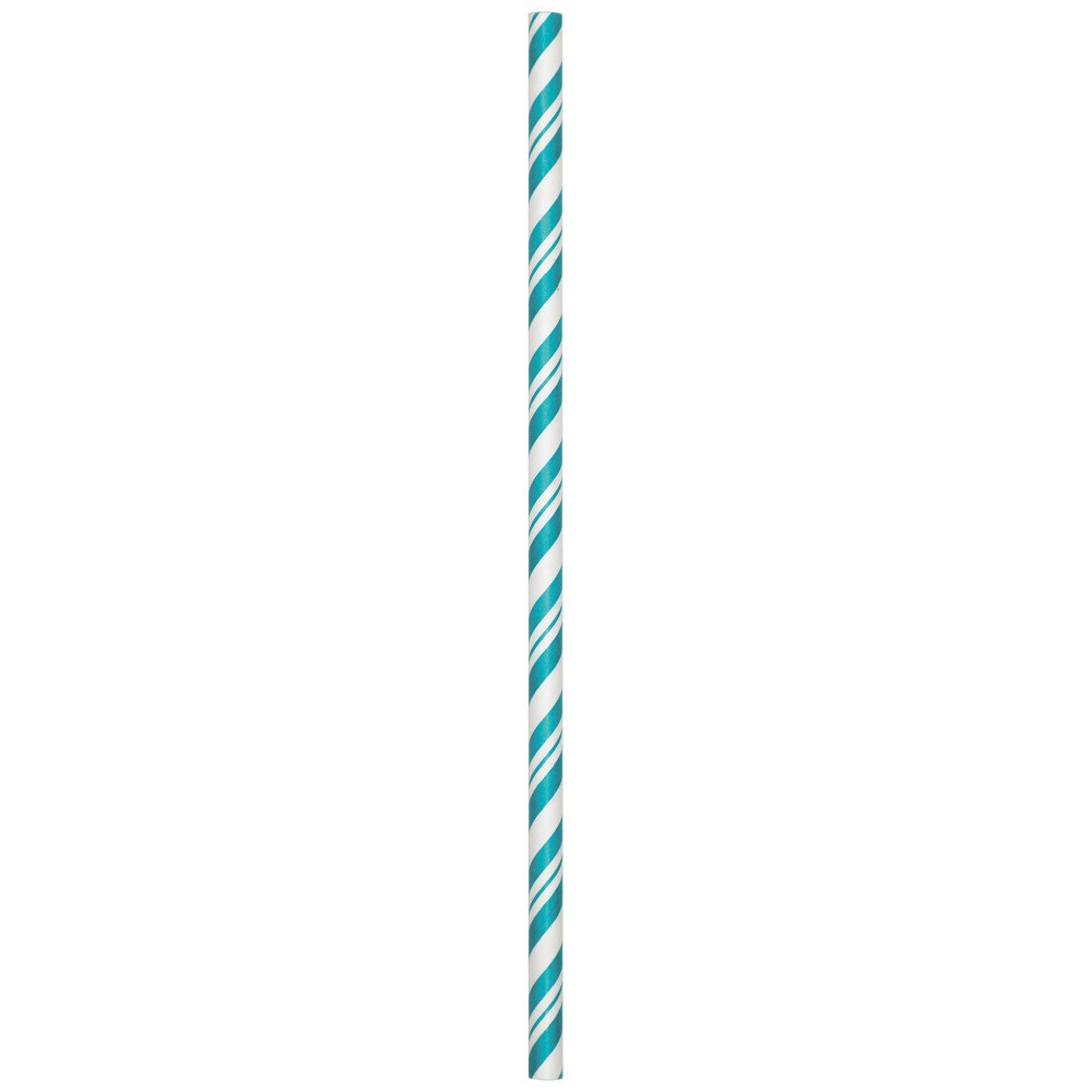 24ct Creative Converting Teal Lagoon Striped Paper Straws, Green