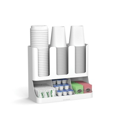 Mind Reader 6 Compartment Upright Coffee Condiment and Cups Organizer - White