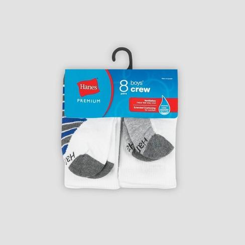 Hanes Premium Boys' 8pk Crew Athletic Socks - image 1 of 3