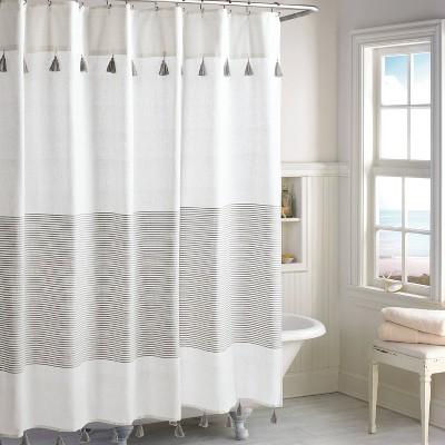 Panama Stripe Shower Curtain Gray - Destinations