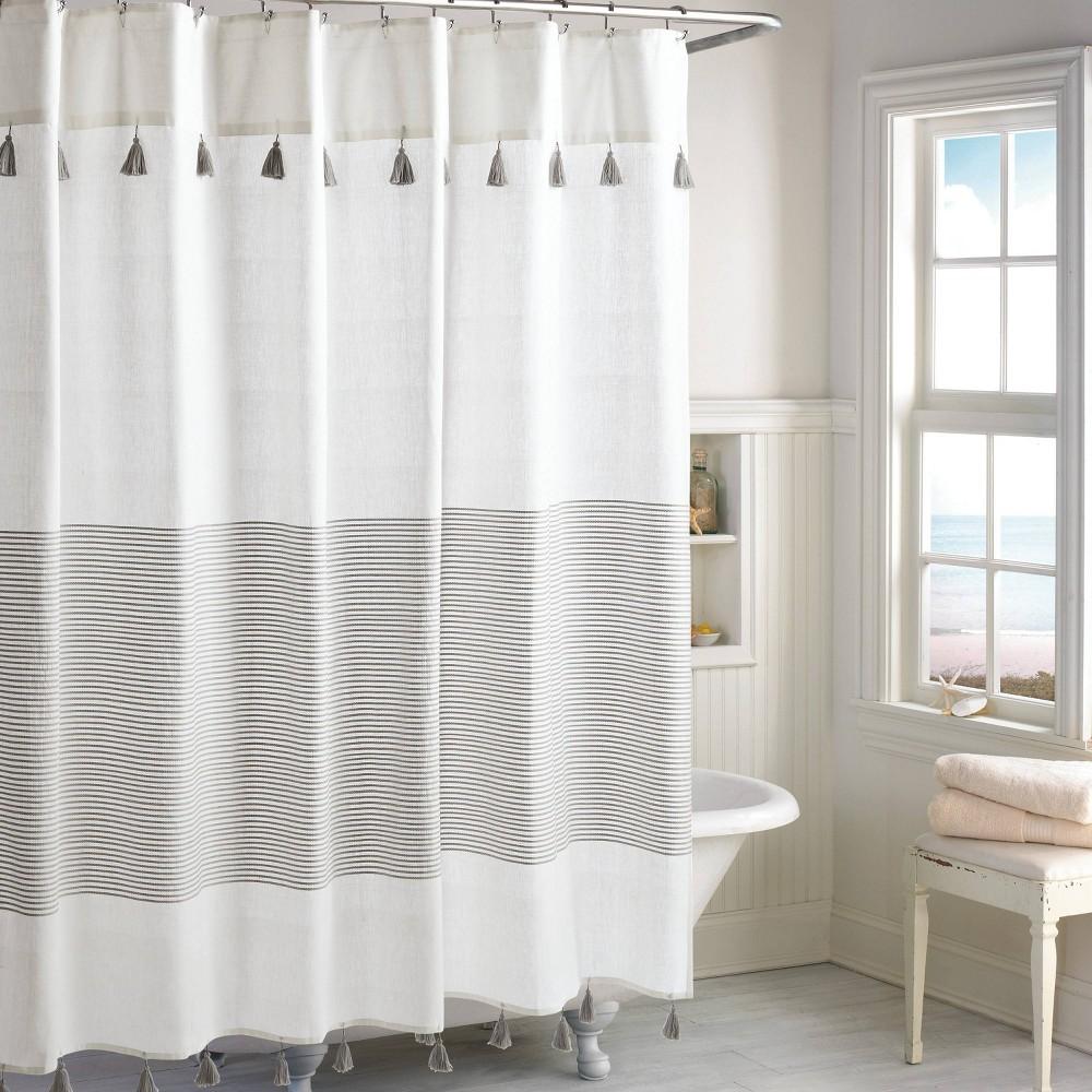 Image of Panama Stripe Shower Curtain Gray - Destinations