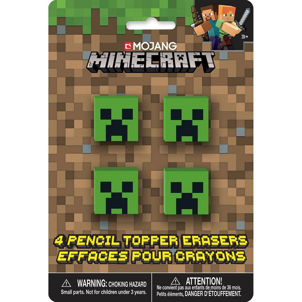 Image of 4ct Minecraft Pencil Topper Erasers
