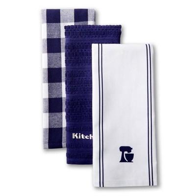 KitchenAid 3pk Mixer Kitchen Towels - Navy/White