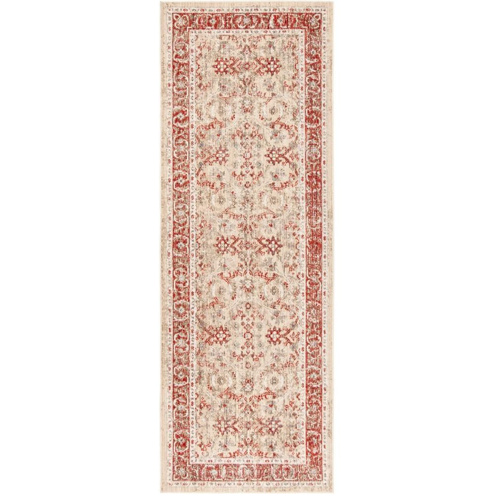 3'X12' Floral Loomed Runner Ivory/Red - Safavieh, White