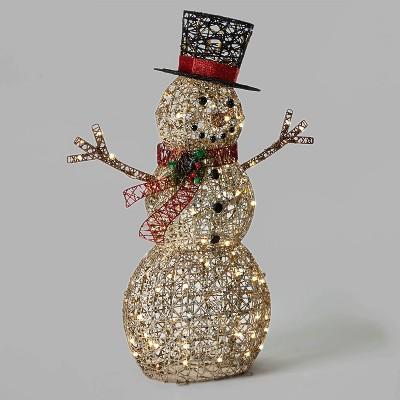 42in Rattan-Look Snowman Christmas LED Novelty Sculpture Champagne Random Twinkle Lights - Wondershop™