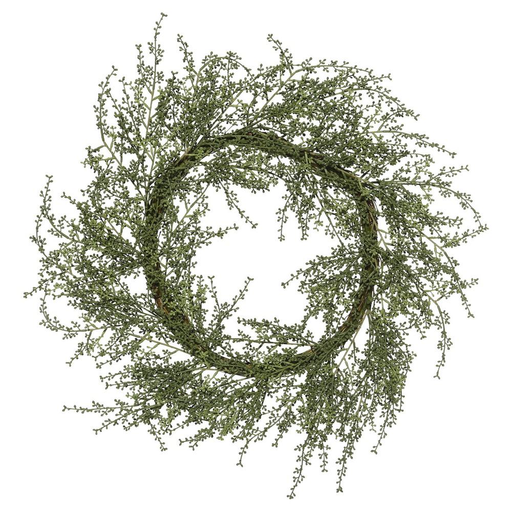 Artificial Fairhill Leaf Wreath (30) Green - Vickerman