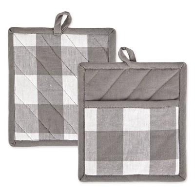 2pk Cotton Buffalo Check Potholder Set Gray/White - Design Imports