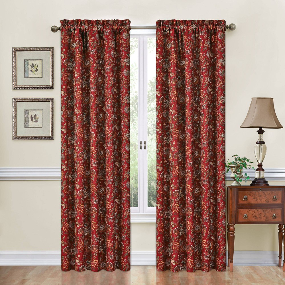 "Image of ""84""""x52"""" Window Curtain Panel Red - Traditions by Waverly"""