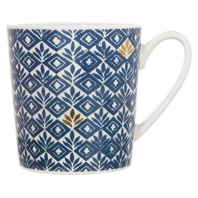 Clay Art Flair Mug 17oz Porcelain - Blue Print
