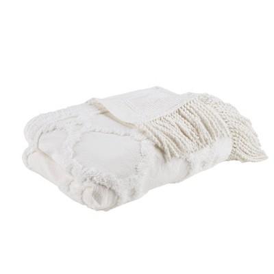 "50""x60"" Hannah Cotton Tufted Throw Blanket Ivory"