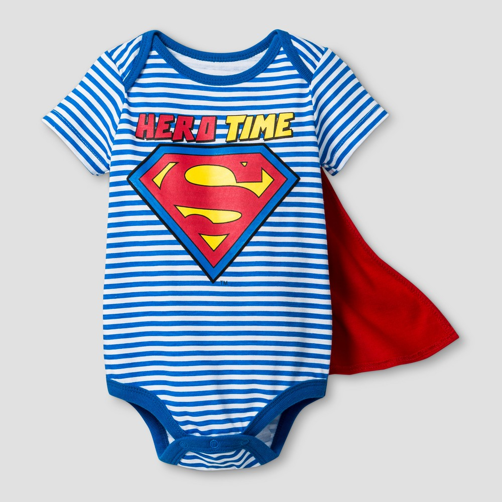 Baby Boys Superman Hero Time Bodysuit With Cape Blue 0 3m