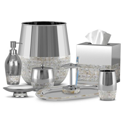 8pc Jakarta Metal Bath Accessory Set for Vanity Counter Tops Silver - Nu Steel