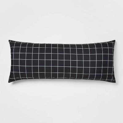 Reversible Body Pillow Black Grid/Black - Room Essentials™