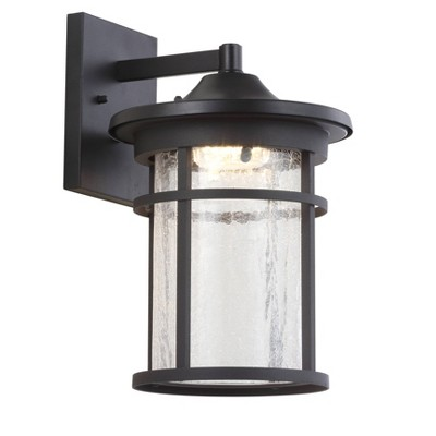 LED Glass/Metal Outdoor Wall Lantern Crackled Sconce Black - Jonathan Y