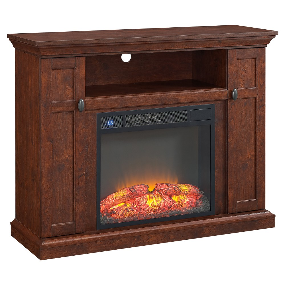 Wood 50 TV Stand With Fireplace Brown - Home Source Industries