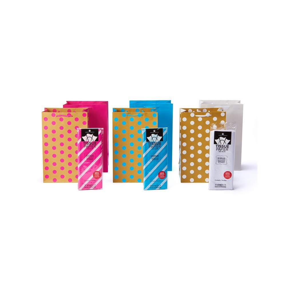 Image of 6pk Gift Bags And Tissue Paper Bundle
