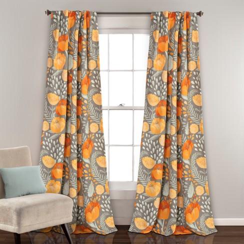 Poppy Garden Room Darkening Window Curtain Panels Yellowgray 52x84
