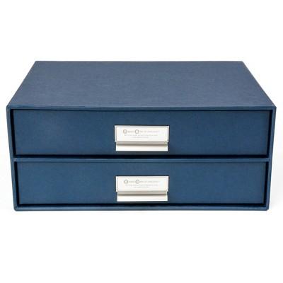 Birger 2 Drawer File Box Navy - Bigso Box of Sweden