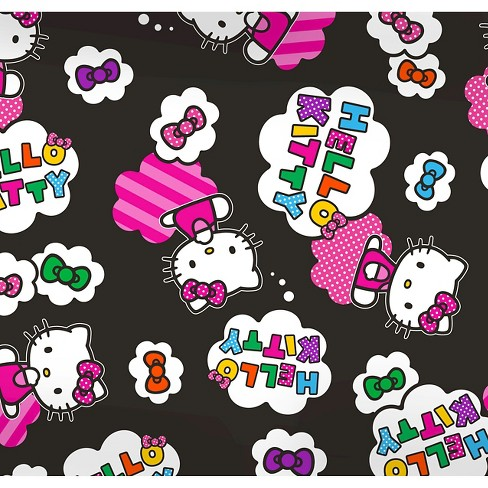 """Hello Kitty Clouds and Bows, Black, Fleece, 59/60"""" Width, Fabric by the Yard - image 1 of 1"""