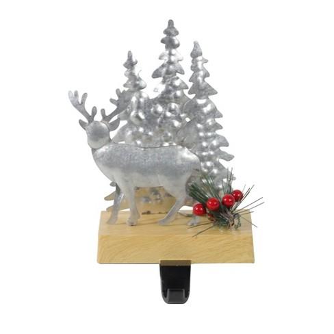 Christmas Stocking Holder.Northlight 8 5 Galvanized Metal Deer And Trees Christmas Stocking Holder