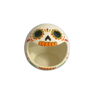 6.5'' Day of the Dead Skull Candy Bowl White