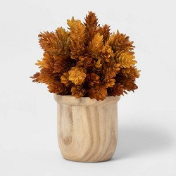 "9"" x 6.5"" Artificial Hops Arrangement in Wooden Pot Brown/White - Threshold™"