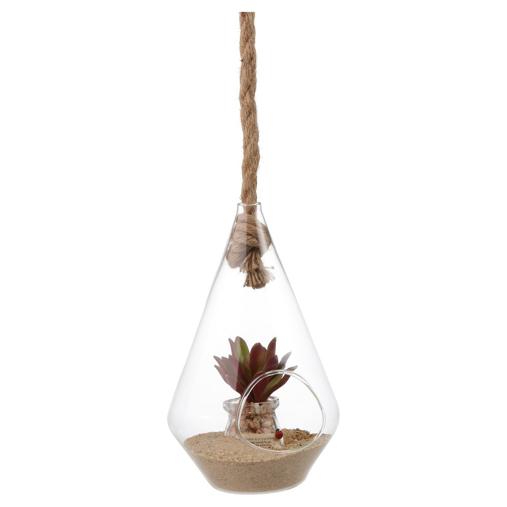 Image of Danya B Diamond Shape Hanging Glass Planter with Rope (10), Clear