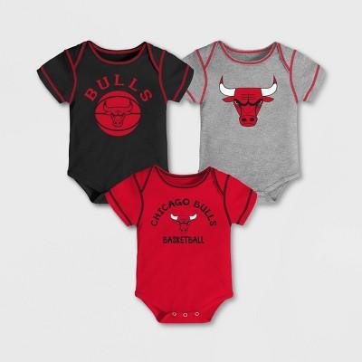 NBA Chicago Bulls Baby Boys' Rookie Bodysuit Set 3pk - 6-9M