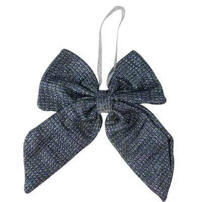 """Northlight 5.25"""" Blue Small Double Loop Christmas Bow Wall Decor"""
