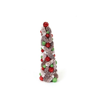 Melrose 1.5' Unlit Artificial Christmas Tree Topiary Candy Crush Frosted Pine Cone and Ball