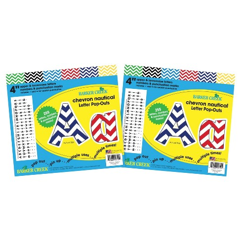 """Barker Creek® 4"""" Letter Pop-Outs 2 pack - Chevron Nautical - image 1 of 3"""