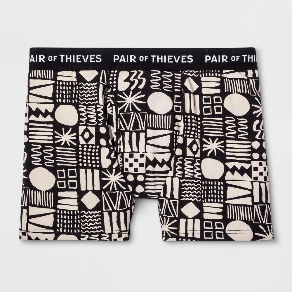 Pair of Thieves Men's SS Cowabunga Boxer Briefs - Cream L, Black Off-White
